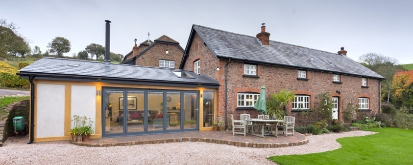 An external view of Origin's windows and doors used on an extension to a converted barn