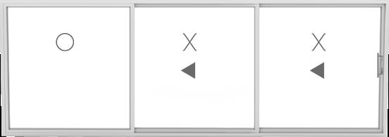 OXX (1 fixed, 2 sliding)